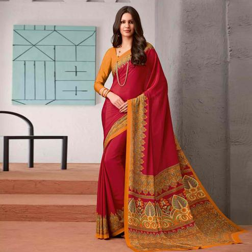 Prominent Red Colored Casual Printed Crepe Saree