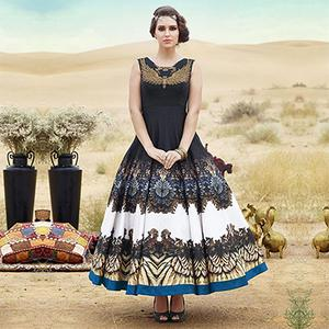 Black Party Wear Gown Anarkali Suit