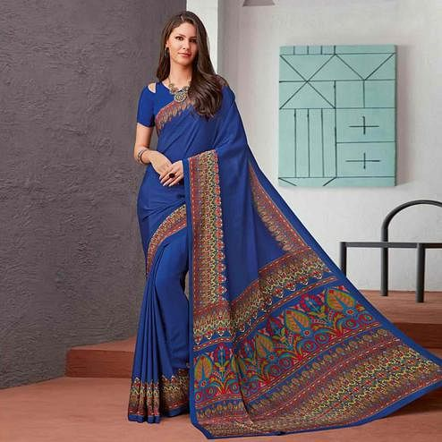 Appealing Royal Blue Colored Casual Printed Crepe Saree
