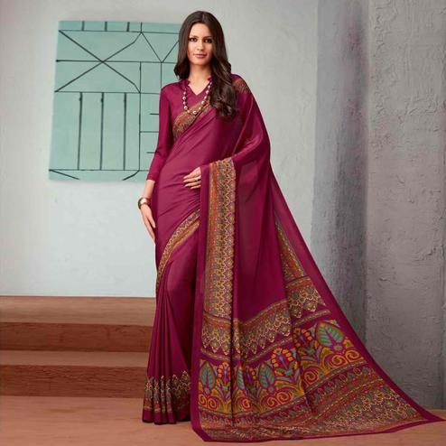 Capricious Magenta Pink Colored Casual Printed Crepe Saree