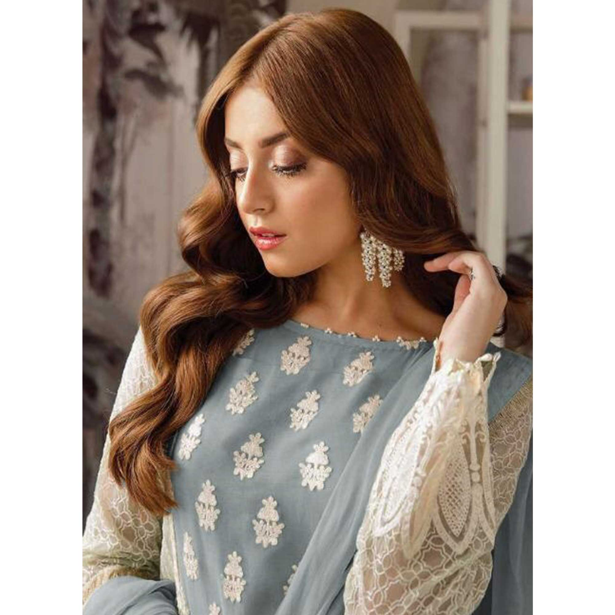 Eye-catching Grey Colored Party Wear Embroidered Georgette Suit