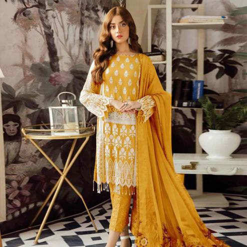 Marvellous Mustard Yellow Colored Partywear Embroidered Georgette Suit