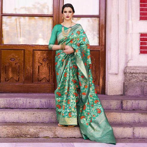 Adorable Turquoise Green Colored Festive Wear Woven Silk Saree