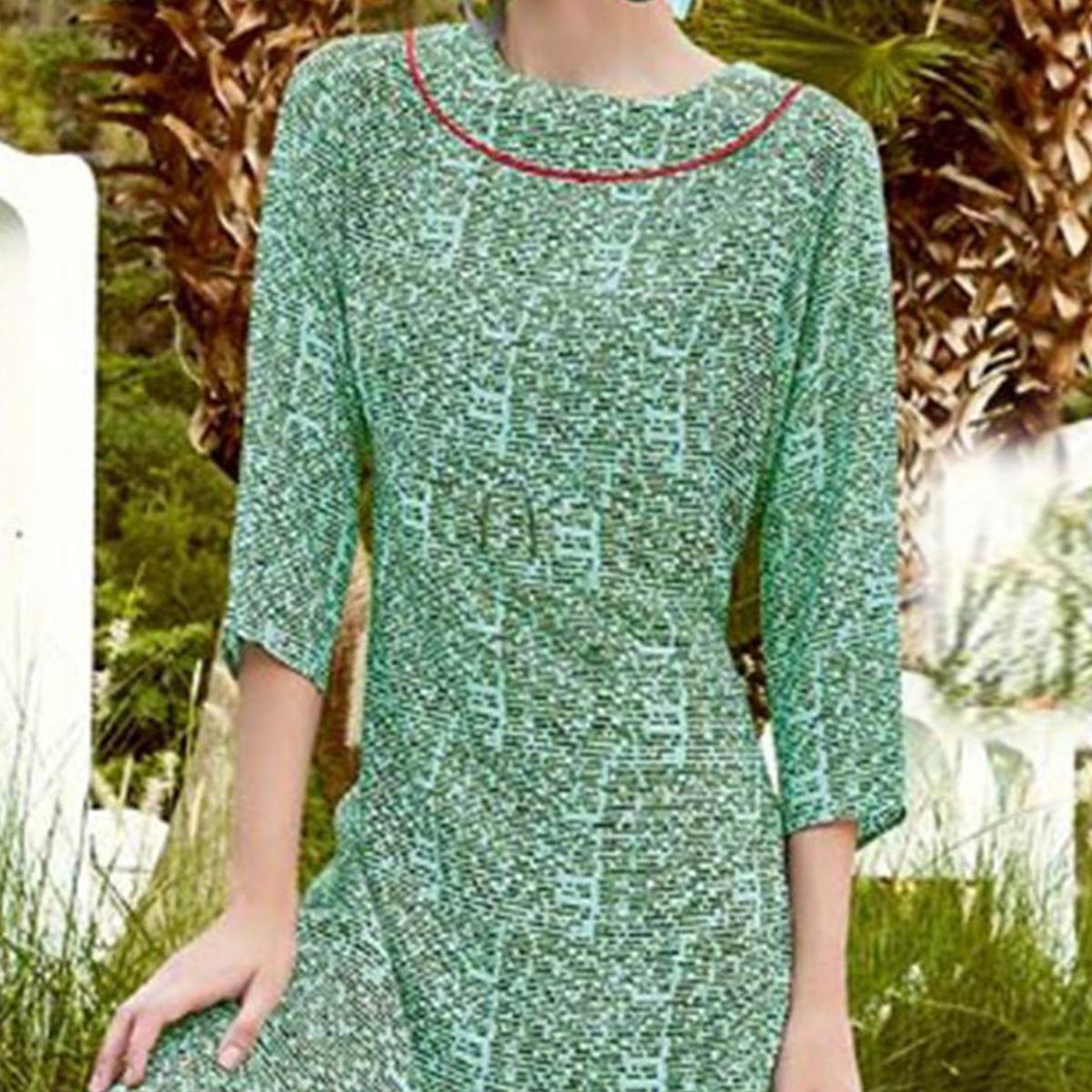Green High Neck Printed Kurti