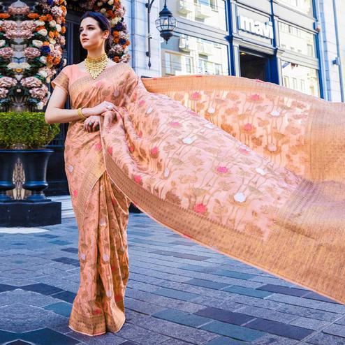 Beautiful Peach Colored Festive Wear Woven Silk Saree