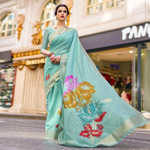 Graceful Sky Blue Colored Festive Wear Woven Silk Saree