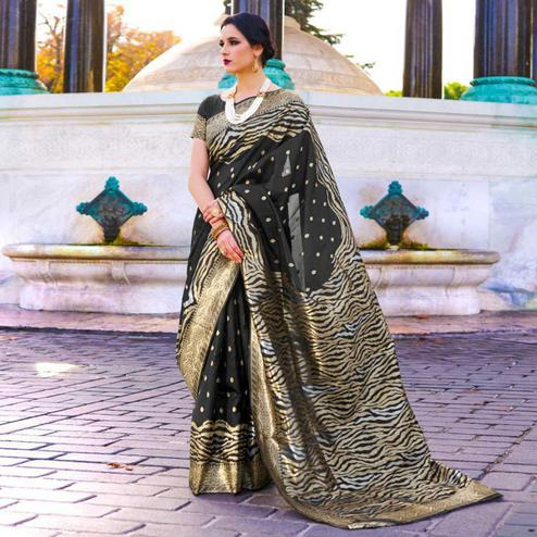 Jazzy Black Colored Festive Wear Woven Silk Saree