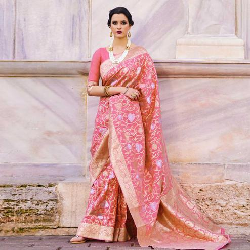 Delightful Pink Colored Festive Wear Woven Silk Saree