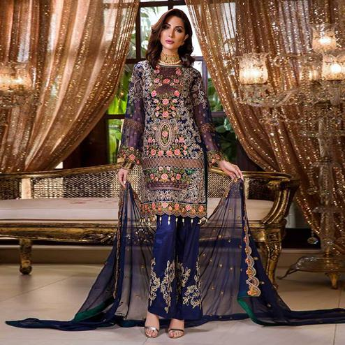 Prominent Navy Blue Colored Partywear Embroidered Georgette Palazzo Suit