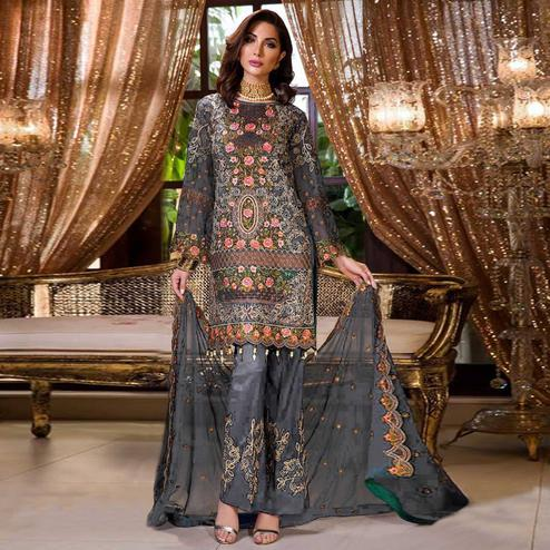 Appealing Grey Colored Partywear Embroidered Georgette Palazzo Suit