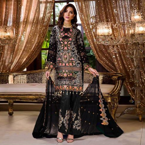 Capricious Black Colored Partywear Embroidered Georgette Palazzo Suit