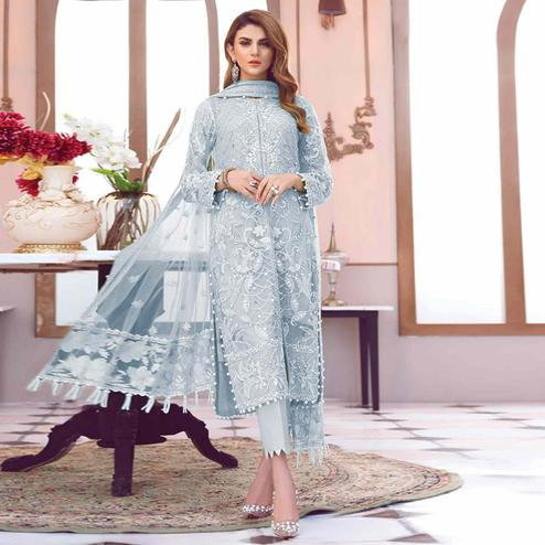 Dazzling Grey Colored Partywear Embroidered Netted Pant Style Suit