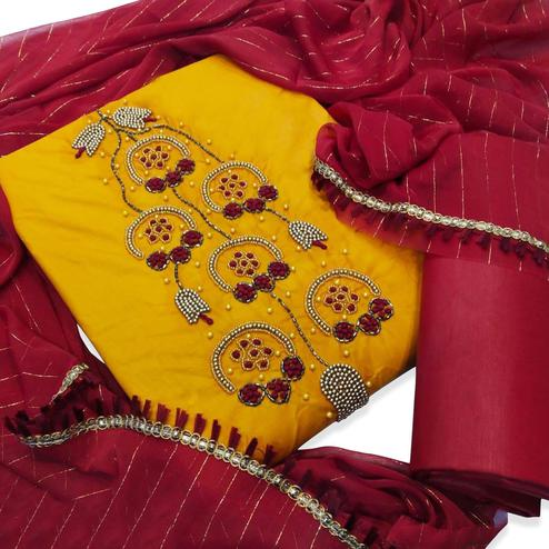 Delightful Yellow Colored Party Wear Embroidered Cotton Silk Dress Material