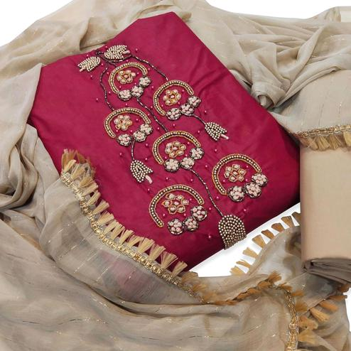 Fantastic Dark Pink Colored Party Wear Embroidered Cotton Silk Dress Material