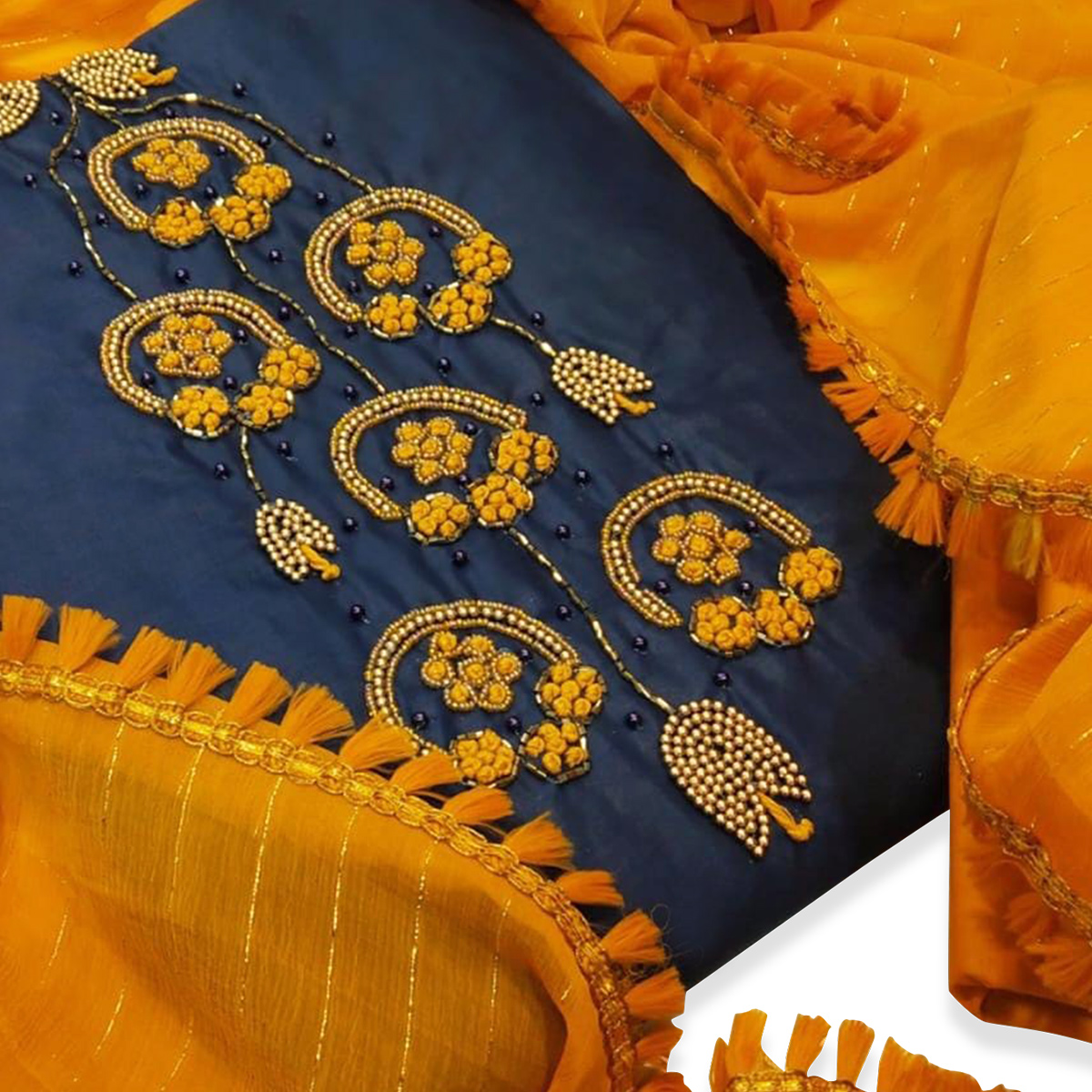 Amazing Navy Blue Colored Party Wear Embroidered Cotton Silk Dress Material