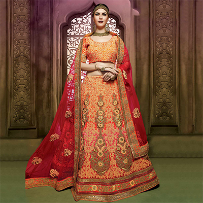 Orange Art Silk Bridal Lehanga Choli
