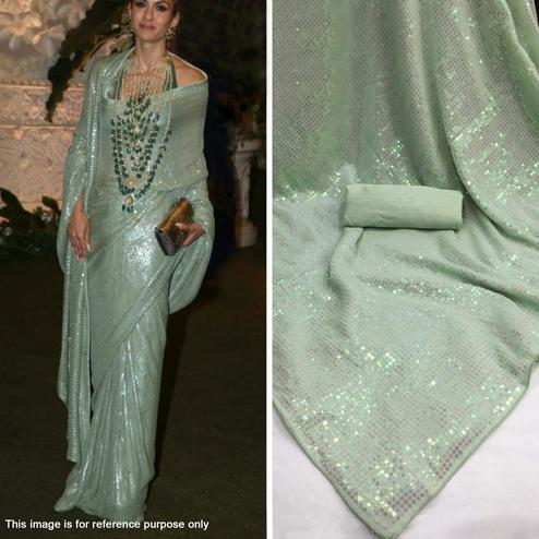 Ideal Light Aqua Green Colored Party Wear Sequence Work Georgette Saree