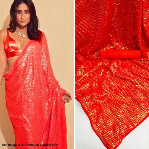 Imposing Red Colored Party Wear Sequence Work Georgette Saree