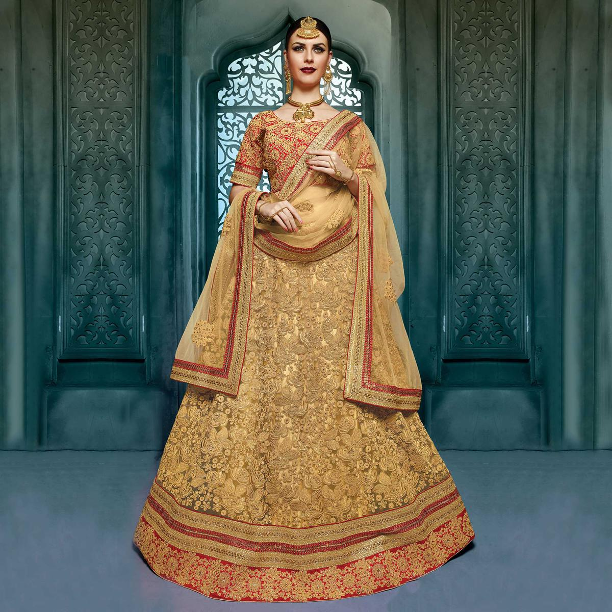 Beige - Red Art Silk Designer Lehenga Choli