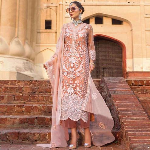 Classy Peach Colored Partywear Embroidered Net Pant Style Suit