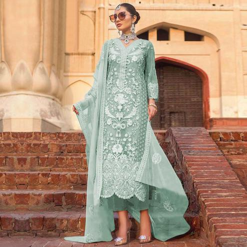 Appealing Aqua Green Colored Partywear Embroidered Net Pant Style Suit
