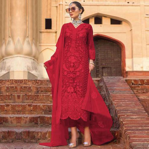 Capricious Red Colored Partywear Embroidered Net Pant Style Suit