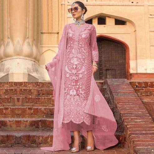 Entrancing Pink Colored Partywear Embroidered Net Pant Style Suit