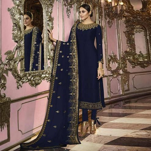 Elegant Navy Blue Colored Partywear Embroidered Faux Georgette Suit