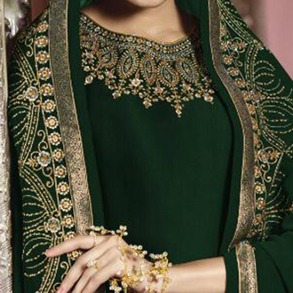 Radiant Dark Green Colored Partywear Embroidered Faux Georgette Suit