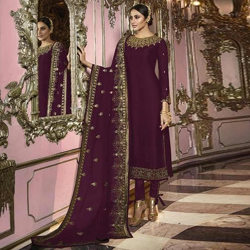 Pleasant Wine Colored Partywear Embroidered Faux Georgette Suit