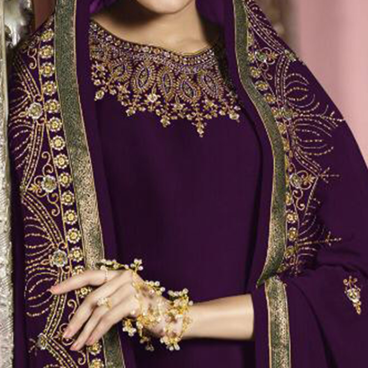 Opulent Dark Purple Colored Partywear Embroidered Faux Georgette Suit