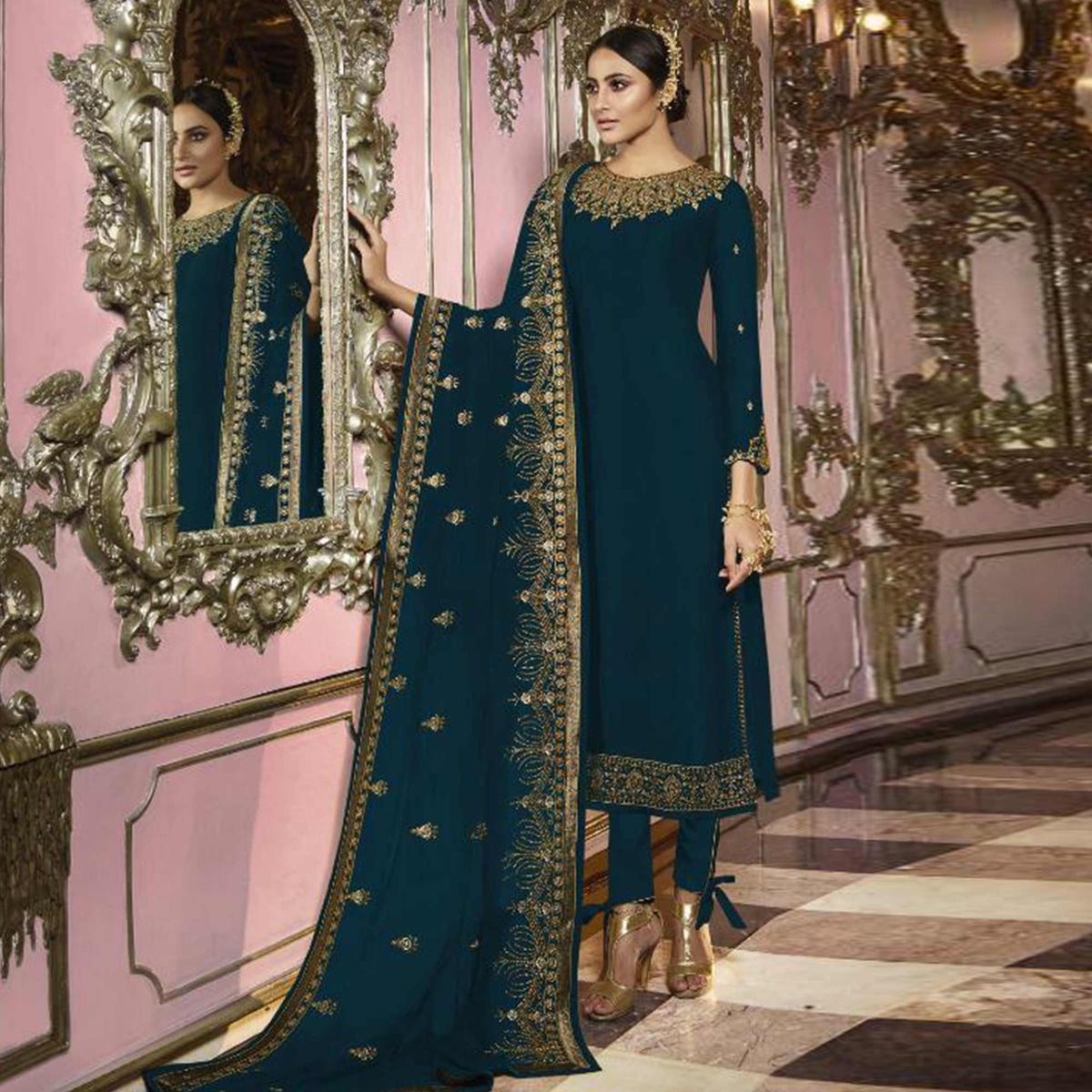 Energetic Dark Rama Blue Colored Partywear Embroidered Faux Georgette Suit