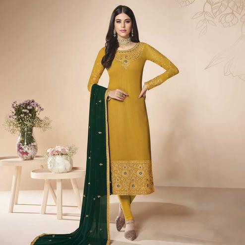 Gleaming Mustard Yellow Colored Partywear Embroidered Faux Georgette Suit