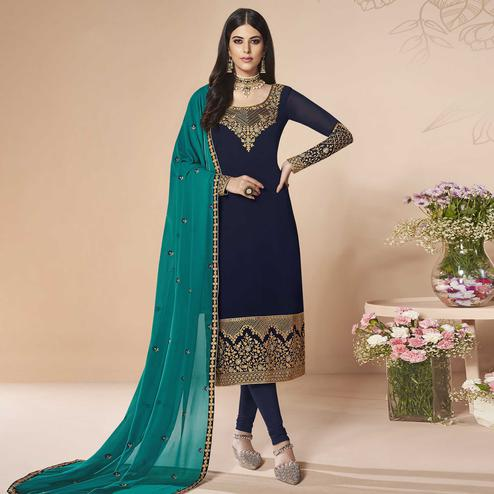 Unique Navy Blue Colored Partywear Embroidered Faux Georgette Suit