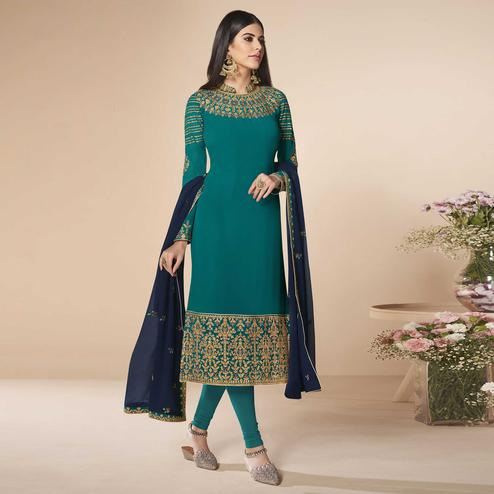 Refreshing Rama Blue Colored Partywear Embroidered Faux Georgette Suit
