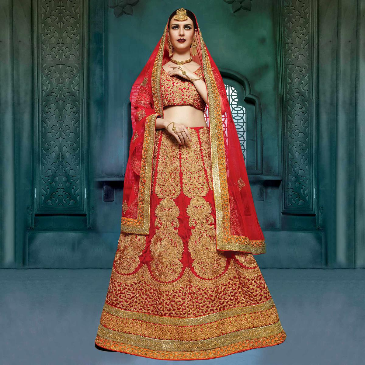 dca8ee6f01 Buy Red Heavy Embroidered Work Bridal Lehenga for womens online India, Best  Prices, Reviews - Peachmode