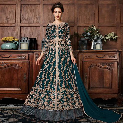 Trendy Teal Green Colored Partywear Embroidered Netted Anarkali Suit