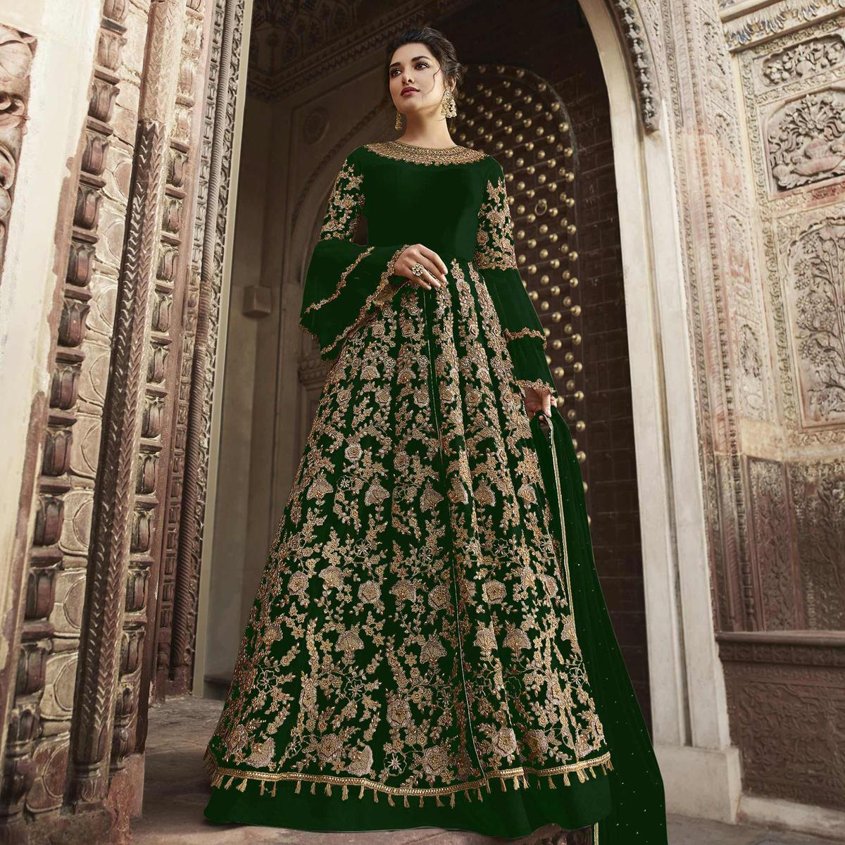 Pleasance Green Colored Partywear Embroidered Netted Anarkali Suit