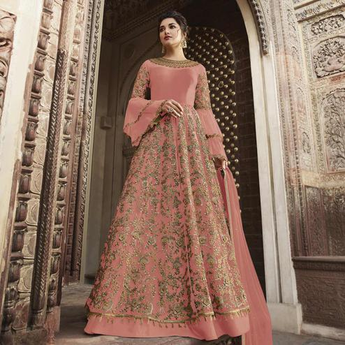 Breathtaking Pink Colored Partywear Embroidered Netted Anarkali Suit