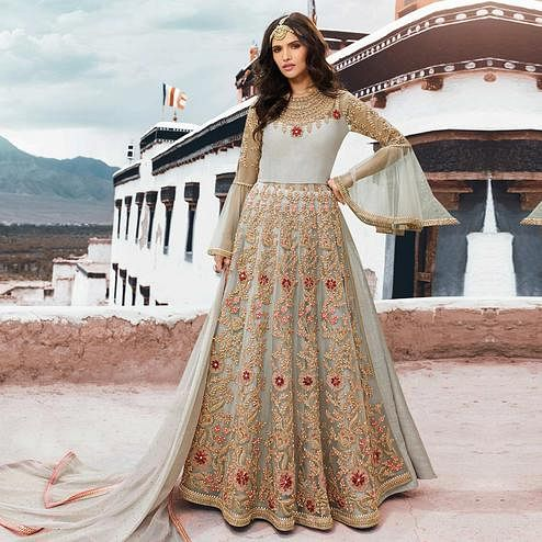 Captivating Off White Colored Partywear Embroidered Netted Anarkali Suit