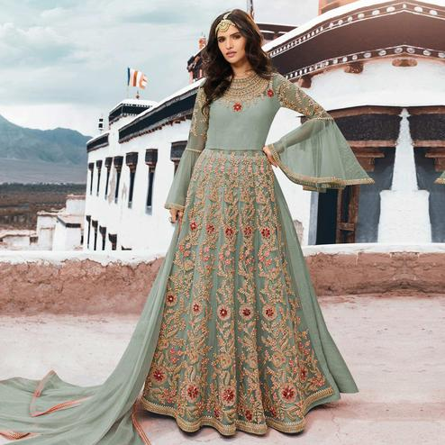 Innovative Grey Colored Partywear Embroidered Netted Anarkali Suit