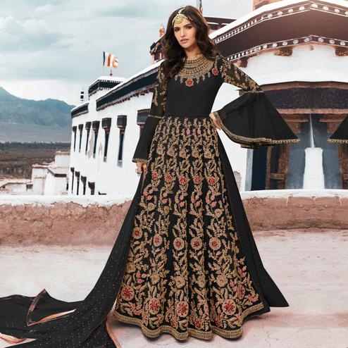 Eye-catching Black Colored Partywear Embroidered Netted Anarkali Suit