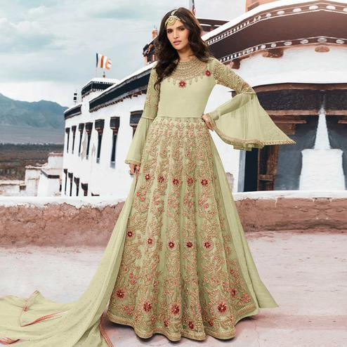 Fantastic Pista Green Colored Partywear Embroidered Netted Anarkali Suit