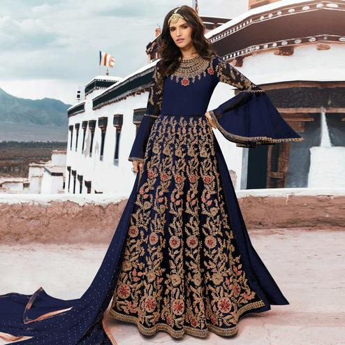 Amazing Navy Blue Colored Partywear Embroidered Netted Anarkali Suit
