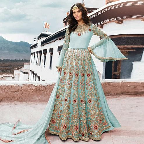 Gorgeous Sky Blue Colored Partywear Embroidered Netted Anarkali Suit
