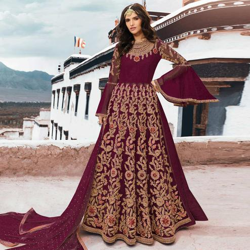 Blissful Maroon Colored Partywear Embroidered Netted Anarkali Suit