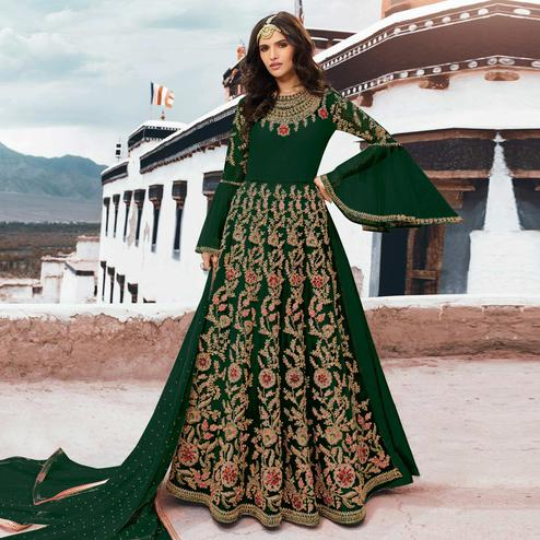 Imposing Green Colored Partywear Embroidered Netted Anarkali Suit