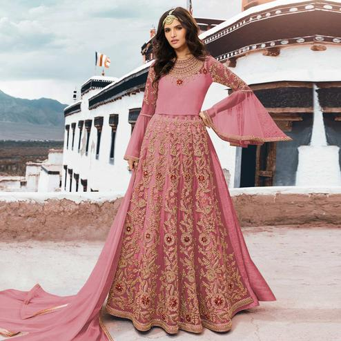 Majesty Pink Colored Partywear Embroidered Netted Anarkali Suit