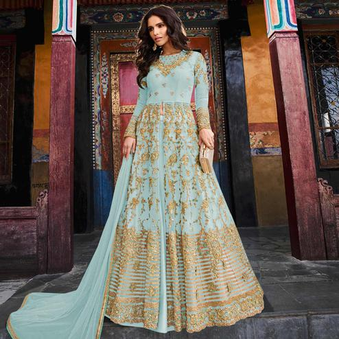 Capricious Sky Blue Colored Partywear Embroidered Netted Lehenga Kameez