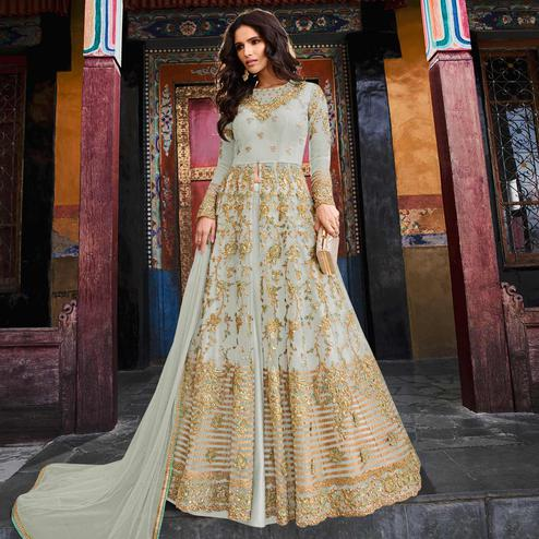 Entrancing Grey Colored Partywear Embroidered Netted Lehenga Kameez